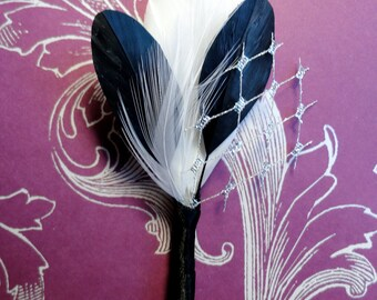 PATRICK Black, White, and Metallic Silver Veil Feather Boutonniere, Groom's Boutonniere