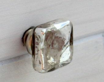 Mercury Glass Knob, Drawer Pulls, Glass Knobs, Cabinet Knobs, Dresser Knobs, Shabby Chic, Vintage Knobs, Rustic Home Decor, Silver Knobs