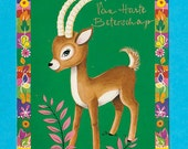 Vintage retro kids post card 70s. Cute little deer.
