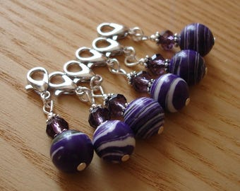 Snag Free Purple Sparkle Crochet Stitch Markers Set of 6, Crochet Tool, Gift for Crocheters, Chic Stitch Marker, Gift for Mam, Gift for Aunt