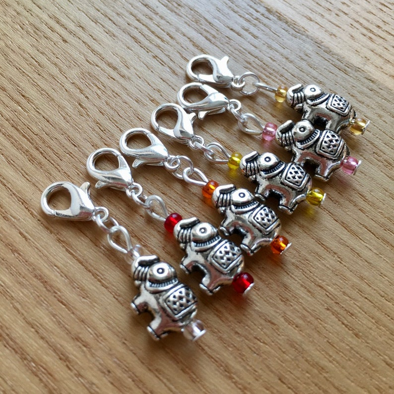 Crochet Stitch Markers Snag Free Fire Tones Elephant Crochet Stitch Markers  Set of 6 Crochet Tools Gift for Crocheters Nature Lover Gift
