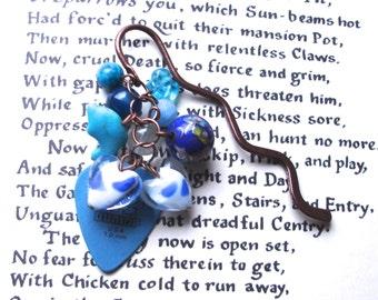 Blue Bookmark, Plectrum Bookmark, Unique Bookmark, Cluster Bookmark, Teacher Gift, Summer Finds, Payday Treat, 25th Birthday Gift, Mum Gift