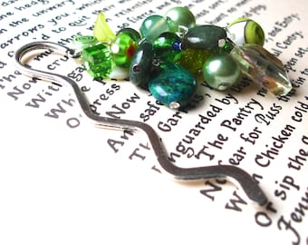 Large Bookmark with Green Beads, Unique Bookmark, Cluster Bookmark, Teacher Gift, Summer Finds, Payday Treat, 18th Birthday Gift, Mum Gift