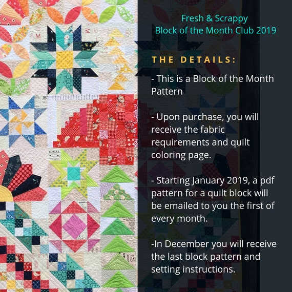 Quilt Block Of The Month Club Com.Fresh Scrappy Block Of The Month Club 2019 Pdf