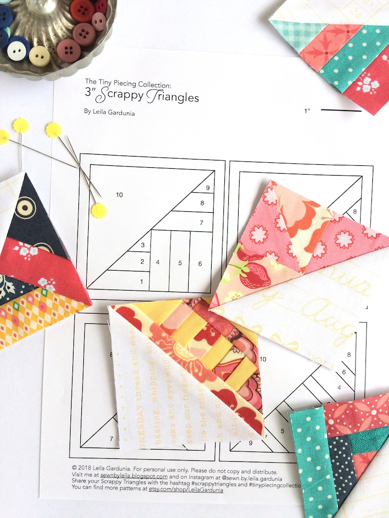 3 Scrappy Triangles From The Tiny Piecing Collection Etsy