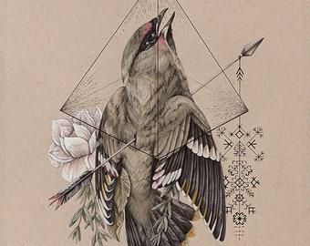 O R I G I N A L  - Hiraeth - Original painting - Bird art