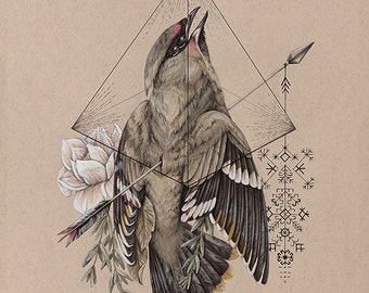 Hiraeth - bird fine art print - painting