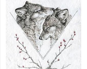 Wolf art print -  11X14 inch animal illustration reproduction