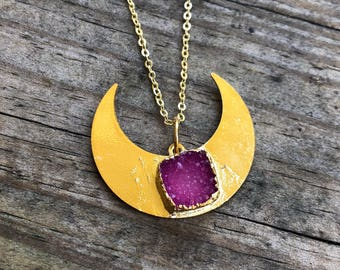 Pink Druzy Layering Necklace