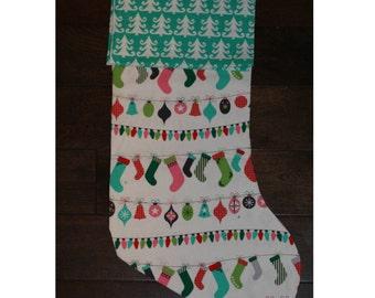 Christmas Stocking - Personalized Stocking - Fully Lined Cotton Stocking - Hanging Stockings Fabric