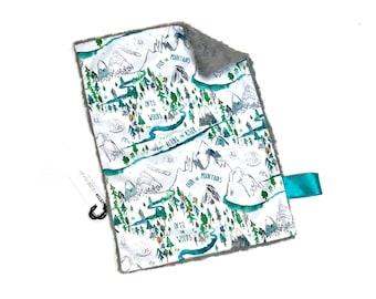 Adventure Mountains Baby Boy MINKY Lovey Blanket, MINI Minky Baby Blanket, Aqua Into the Woods Lovey Blanket, Baby Shower Gift