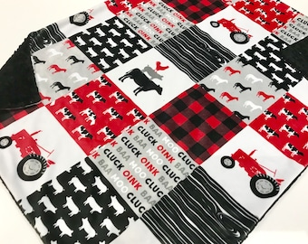 Farm Life Red Tractor Faux Quilt Baby Boy Minky Blanket