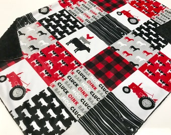 Farm Life Red Tractor Baby Boy Blanket - Minky Baby Blanket, Pig Cow Red Baby Blanket, Ready to Ship Baby Blanket, Baby Shower Gift