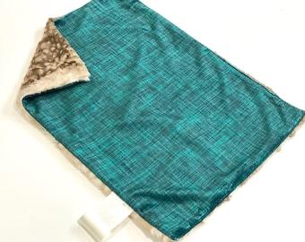 Spruce Green Linen Baby Boy MINKY Lovey Blanket, MINI Minky Baby Blanket, Taggie Blanket, Baby Boy Lovey Baby Blanket, Baby Shower Gift
