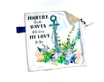 Anchor Nautical Minky Baby Blanket Lovey, Gender Neutral Blue Minky Baby Blanket, Baby Boy Blanket, Mightier Than the Waves, Baby Shower Gif