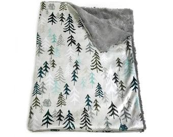 Grey Mountain Solitude Baby Blanket, Mountain Baby Bedding, Baby Boy MINKY Blanket, Adventure Baby Blanket, Personalized Baby Blanket