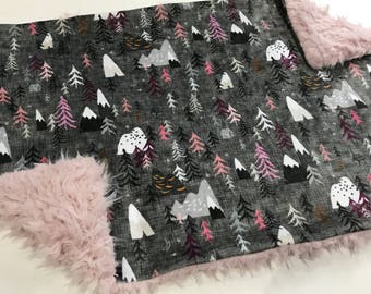Pink and Purple Mountain Baby Blanket, Baby Girl Minky Blanket, Forest Peaks Baby Blanket, Ready to Ship, Faux Fur, Baby Shower Gift