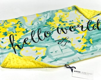 Hello World Yellow Baby Blanket Large Lovey