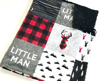Little Man Buffalo Plaid Woodland Baby Boy Blanket, Grey and Red Deer Baby Bedding, Baby Boy MINKY Blanket, Ready to Ship Baby Blanket Gift