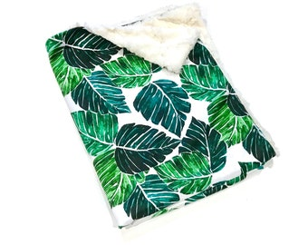 Palm Leaves Tropical Baby Blanket, Green Palm Springs Woodland Baby Blanket, Baby Boy MINKY Blanket, Ready to Ship Baby Shower Gift