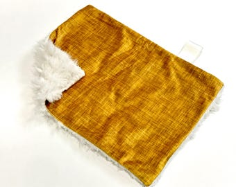 Gold Yellow Linen Baby MINKY Lovey Blanket, MINI Minky Baby Blanket, Taggie Blanket, Gender Neutral Lovey Baby Blanket, Baby Shower Gift