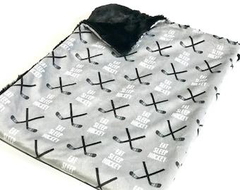Eat Sleep Hockey Baby Boy Blanket, Black and Grey Hockey Baby Bedding, Baby Boy MINKY Blanket, Ready to Ship Baby Blanket, Baby Shower Gift