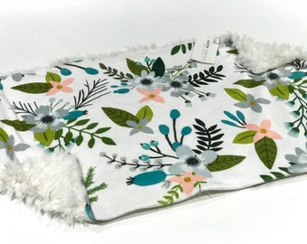 Silver Sprigs and Bloom Floral Baby Girl Blanket Lovey, Baby Girl Minky Lovey, Indy Bloom Floral Baby Blanket, Ready to Ship, Faux Fur Baby