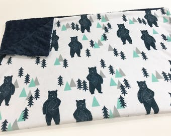 Navy Blue Bears Baby Boy Minky Blanket