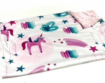 Hot Pink Unicorns Baby Girl Blanket - Minky Baby Blanket, Pink and Blue Unicorn Pink Baby Blanket, Ready to Ship Baby Blanket, Baby Shower