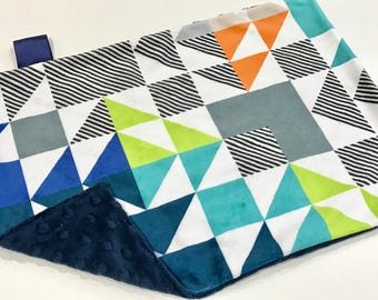 Navy Blue Triangle Puzzle Baby Boy MINKY Lovey Blanket, MINI Minky Baby Boy Blanket, Taggie Blanket, Gender Neutral Baby Shower Gift