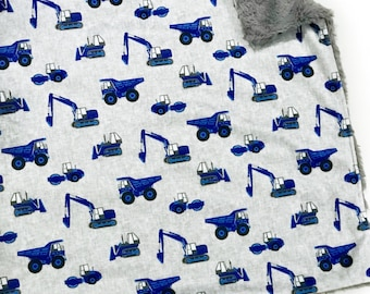 Blue Construction Trucks Baby Boy Blanket. Baby MINKY Blanket, Grey Baby Bedding. Grey Baby Blanket, Personalized Baby Boy Blanket, Gift