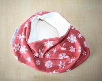 SALE - Organic Cotton Baby Scarf Bib, Baby Christmas Bandana Bib, Baby Bib, Bandana Bib, Drool Bib, Snowflake Scarf Bib, Baby Shower Gift