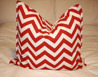 "20"" x 20"" Square Pillow Cover - Red/Tan Chevron ZigZag, Cushion Cover, Throw Pillow, Premier Prints, Nursery, Home, Beach, Cottage Pillow"