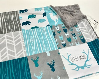 Teal Blue and Grey Deer Baby Boy Blanket. Little Man Baby MINKY Blanket, Grey Baby Bedding. Woodland Baby Blanket, Personalized Blanket