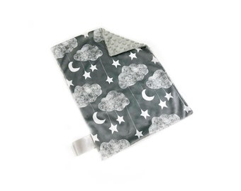 Grey Clouds Baby Boy MINKY Lovey Blanket, MINI Minky Baby Boy Blanket, Taggie Blanket, Gender Neutral Baby Shower Gift, Stars Moon and Cloud