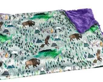 The Boreal Great North Woodland Baby Girl Blanket, Purple Woodland Minky Baby Blanket, Forests Woodland Baby Blanket, Ready to Ship Gift