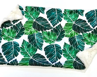 Palm Leaves Tropical Baby Blanket, Green Palm Springs Woodland Baby Lovey, Baby Boy MINKY Blanket, Ready to Ship Baby Lovey