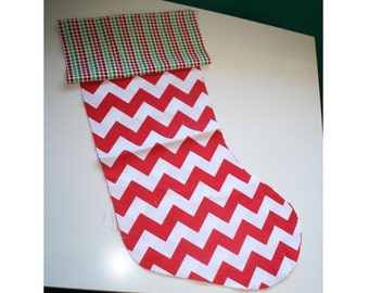 Christmas Stocking - Personalized Stocking - Fully Lined Cotton Stocking - Red and White Chevron
