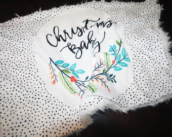 Christmas Baby Baby Blanket, Christmas Baby Blanket, Baby MINKY Lovey Blanket, Faux Fur Baby Blanket, Baby's First Christmas, Christmas Gift