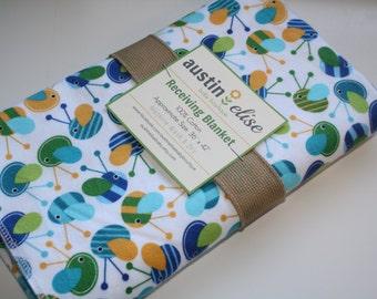 Baby Blanket - Oversized Single-Sided Flannel Baby Receiving Blanket - Swaddle Blanket - Ann Kelle Bugs Blanket, Baby Boy Blanket