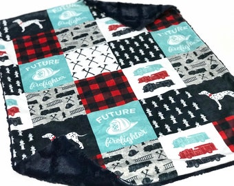 Firefighter Baby Boy Blanket, Red and Blue Firetruck Minky Baby Blanket, Future Firefighter Blanket, Baby Shower Gift, Ready to Ship