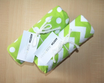 Lime Green Baby Receiving Blanket - Oversized Single-Sided Flannel Baby Receiving Blanket - Swaddle Blanket - Chevron Dots Baby Boy Blanket