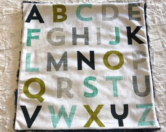 Alphabet Baby Boy Blanket, Navy Mint Mustard Minky Baby Blanket, Ready to Ship Baby Blanket, Baby Shower Gift