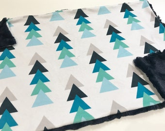 Navy Blue Triangle Trees Baby Blanket Lovey, Baby Boy Minky Lovey, Navy Woodland Blanket, Ready to Ship, Baby Boy Blanket