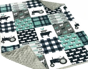 Farm Life Navy Blue Tractor Baby Boy Blanket - Minky Baby Blanket, Pig Cow Blue Baby Blanket, Ready to Ship Baby Blanket, Baby Shower Gift
