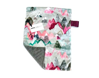 Pink Mountains Baby Girl MINKY Lovey Blanket, MINI Minky Baby Blanket, Taggie Blanket, Adventure Awaits Pink and Grey Lovey Blanket, Gift
