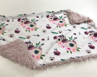 Pink and Purple Floral Baby Blanket Lovey, Baby Girl Minky Lovey, Floral Bloom Floral Baby Blanket, Ready to Ship, Faux Fur Baby Blanket