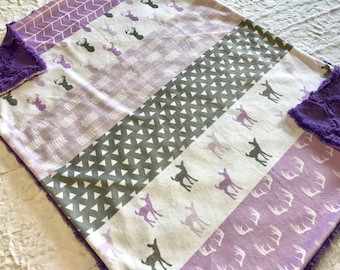 Purple Deer Baby Girl Blanket - Minky Baby Blanket, Purple and Grey Baby Blanket, Ready to Ship, Woodland Crib Quilt, Baby Shower Gift