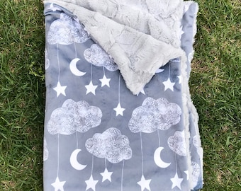 Grey Moon and Stars Clouds Baby Boy Blanket, Minky Baby Blanket, Moon and Stars Baby Blanket, Personalized Baby Blanket, Baby Shower Gift