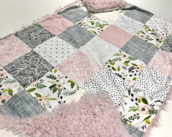 Floral and Lace Grey and Pink Faux Quilt Baby Girl Blanket